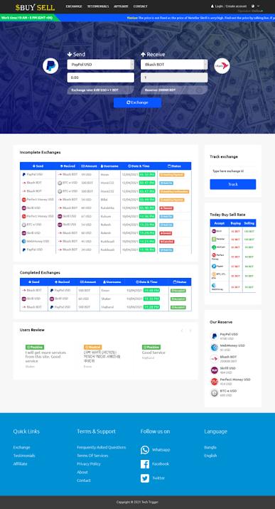 HomePage1 Dashboard – Dollar buy sell PHP script