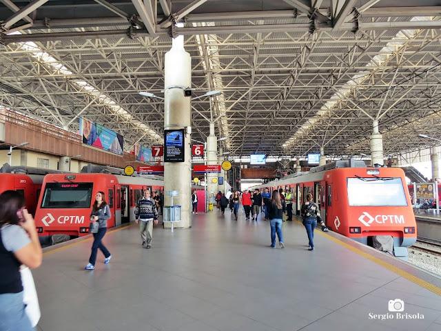 Vista das plataformas da Estação Brás  CPTM - São Paulo