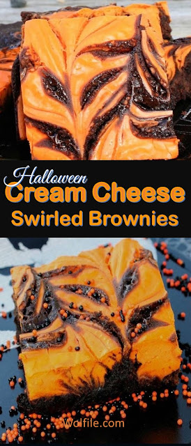 Cream Cheese Swirled Brownies Recipe #Cheese #Brownies #Halloween