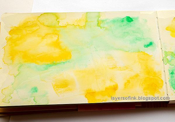 Layers of ink - Bird Friends Mixed Media Art Journal Tutorial by Anna-Karin Evaldsson.