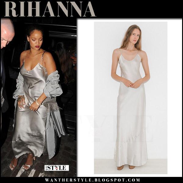 Rihanna in silver metallic slip dress nili lotan july 24 2017 what she wore