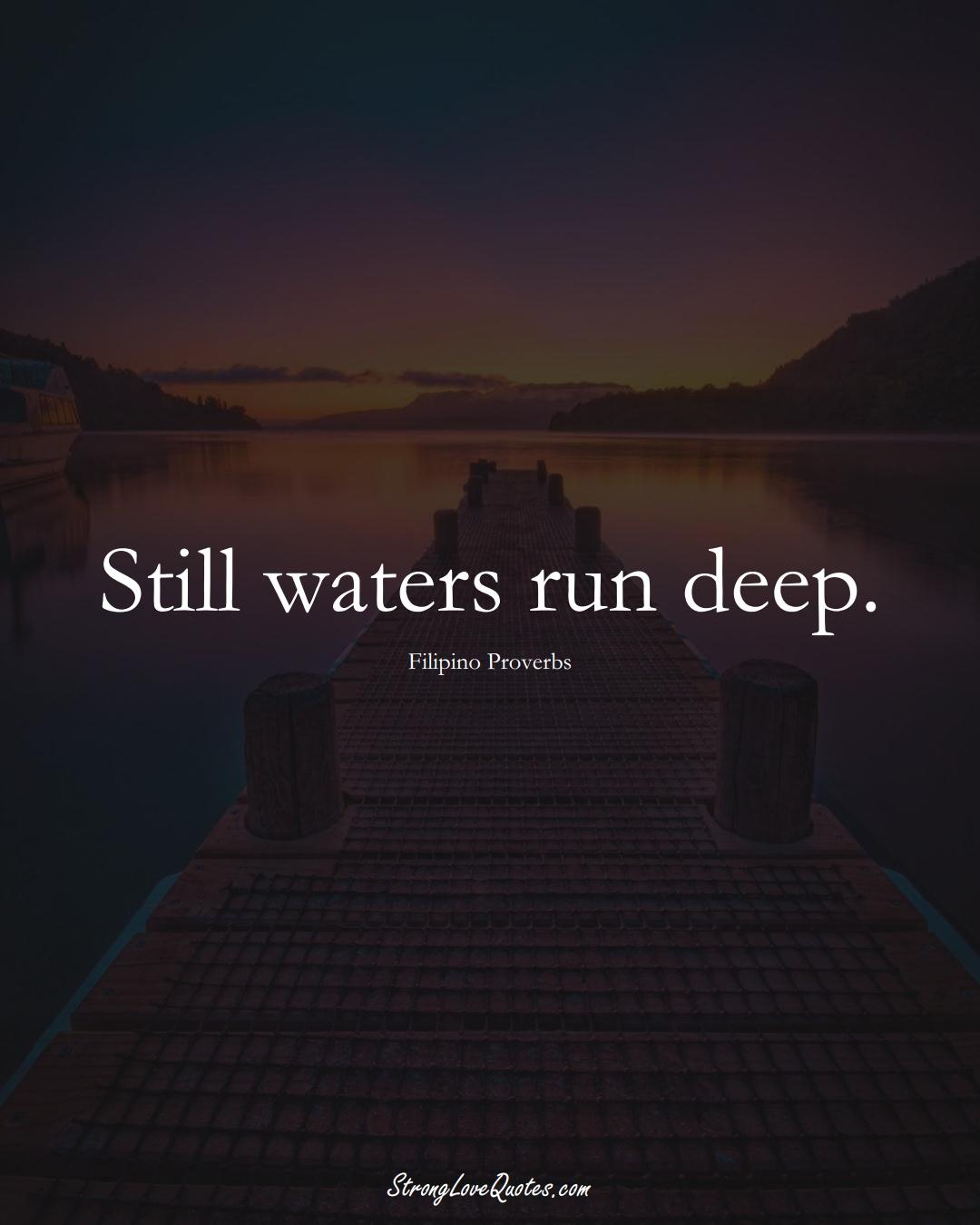 Still waters run deep. (Filipino Sayings);  #AsianSayings