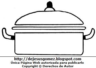 Dibujo de Olla de cocina con dos asas para colorear pintar imprimir por Jesus Gómez