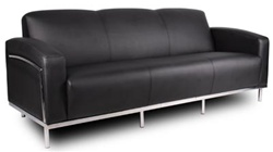 Contemporary Black Leather Sofa