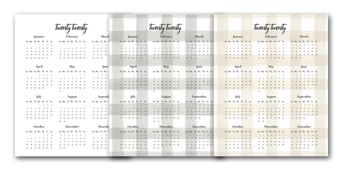 Buffalo Check Calendar Printables