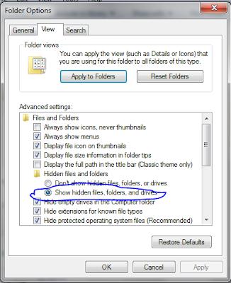 Cara menampilkan hidden file folder di windows 7