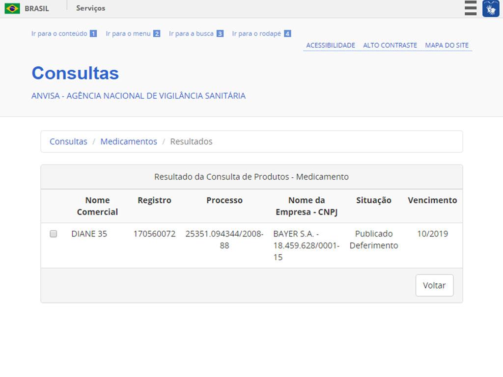 Site da Anvisa mostra se existem produtos registrados com nome procurado. Foto: Reprodução