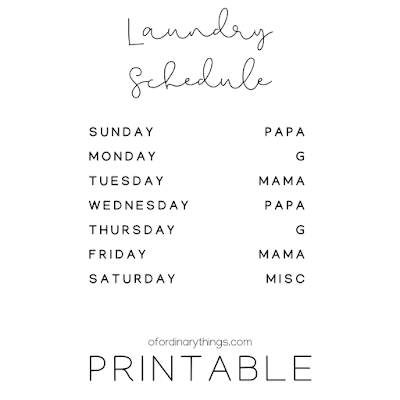 ordinary laundry schedule