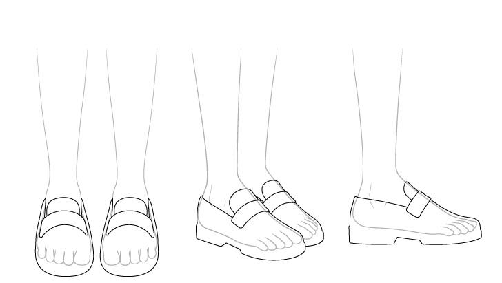 Sepatu sekolah anime melihat melalui gambar