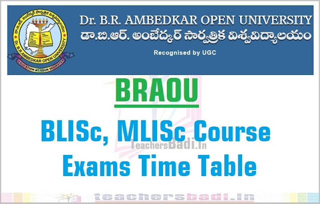 BRAOU,BLISc,MLISc Exams,Time Table 2016