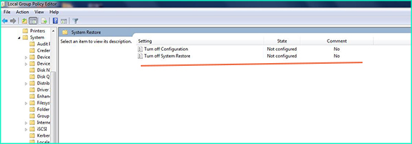 set turn off system restore policy to not configured