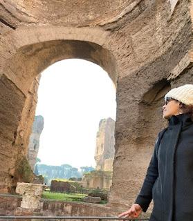 Juliana nas Termas de Caracala, Roma, Italia, janeiro de 2020