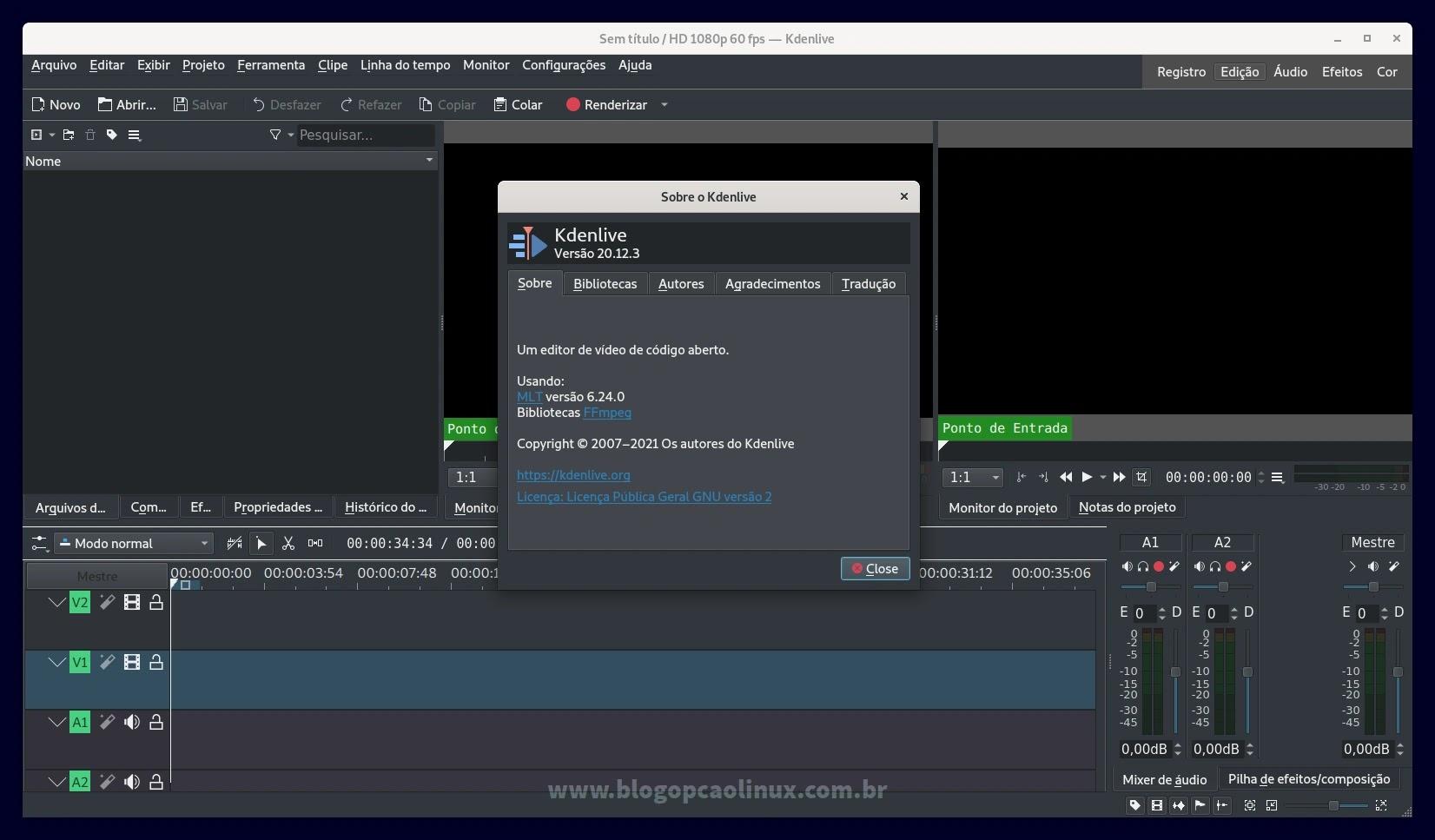 Kdenlive executando no Debian 11 Bullseye