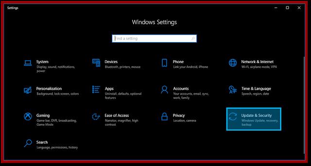 Menu Windows Security