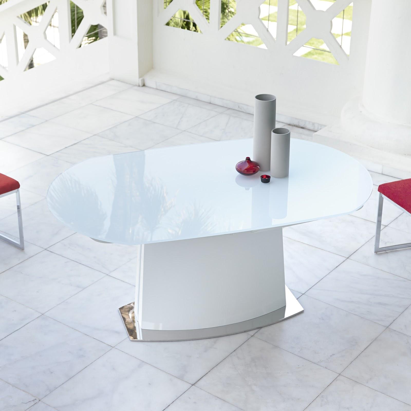 Mesas de comedor mesas de comedor extensibles de cristal for Mesa redonda extensible moderna