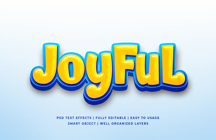 Joyful Cartoon 3D Text Style Effect Psd