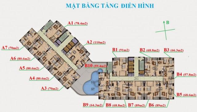 Mặt bằng căn hộ The Garden Hill 99 Trần Bình