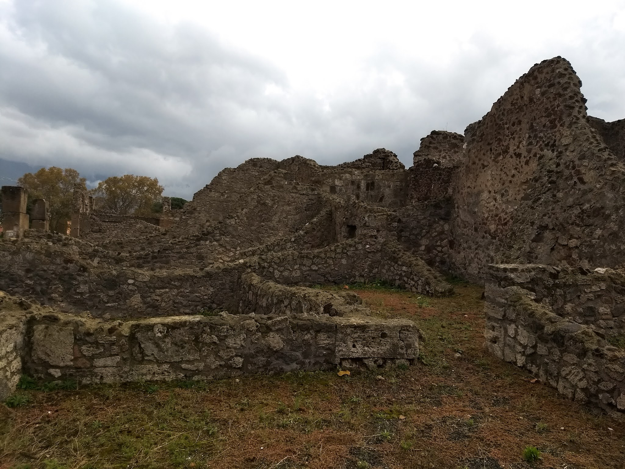 Ancient walls and structures in Pompeii.