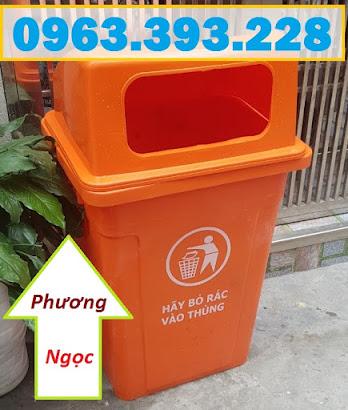 Thùng rác 90 Lít nắp hở nhựa HDPE, thùng rác cửa ngang, thùng rác công cộng TR90LNH5