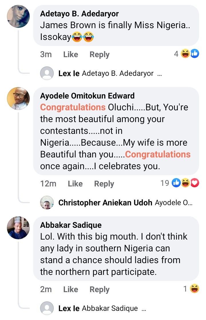 """""""She looks like James Brown"""" reactions as Oluchi Madubuike emerges Most Beautiful Girl In Nigeria"""