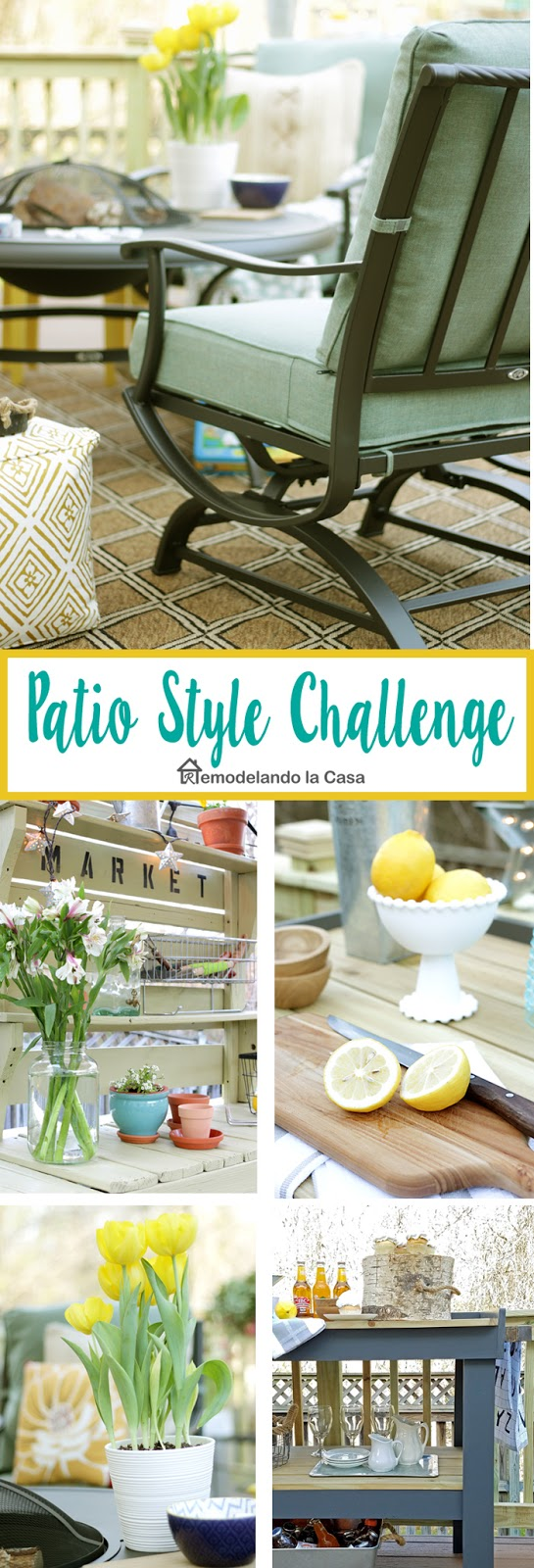 The Home Depot #patiostylechallenge with yellow and blue decor