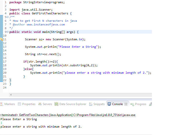 Get First Two characters String Java