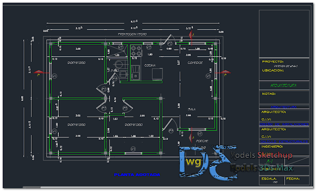 Living place apartment in AutoCAD