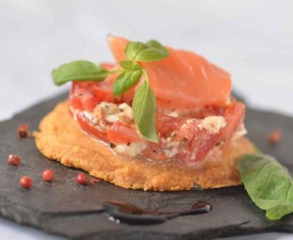 Mozzarella tomato and smoked salmon tartar on parmesan shortbread