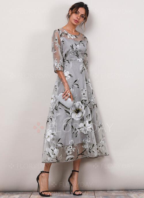 Floral Sleeves Midi X-line Dress