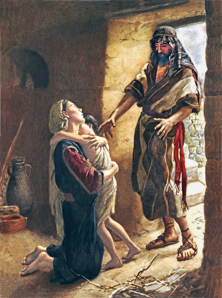 'Give me your son,' Elijah replied. He took him from her arms, carried him to the upper room where he was staying, and laid him on his bed.