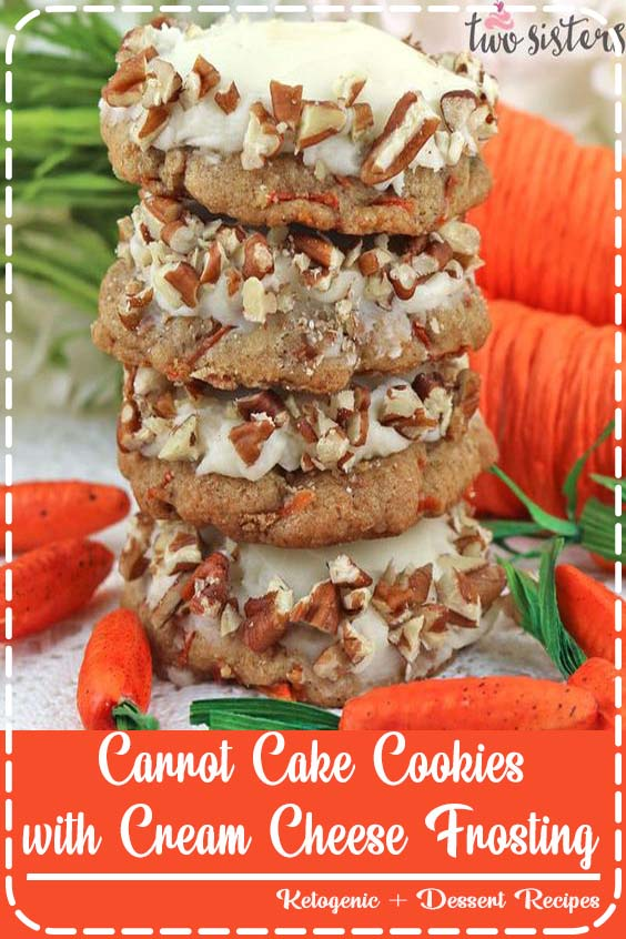 Carrot Cake Cookies with Cream Cheese Frosting are the perfect Spring Cookies and a wonde Carrot Cake Cookies with Cream Cheese Frosting