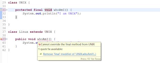 final methods Java example