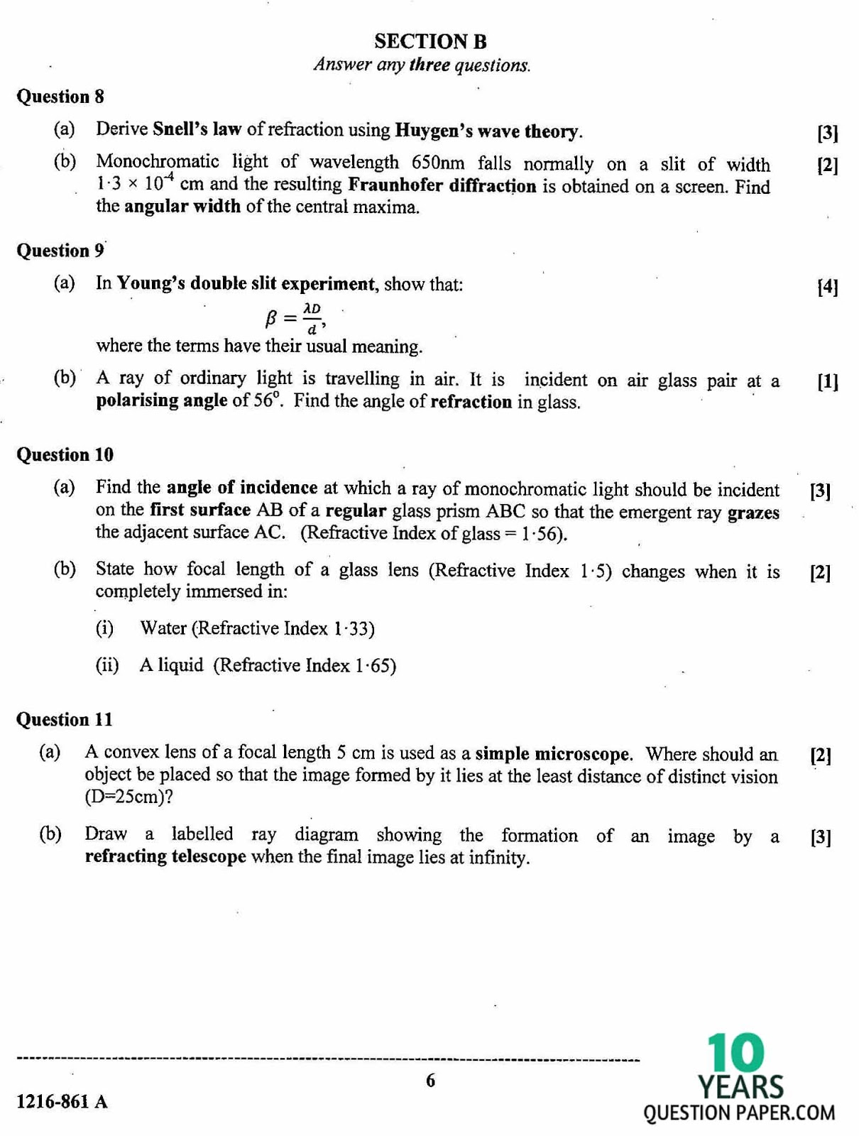 isc 2016 class 12th Physics paper 1 question paper
