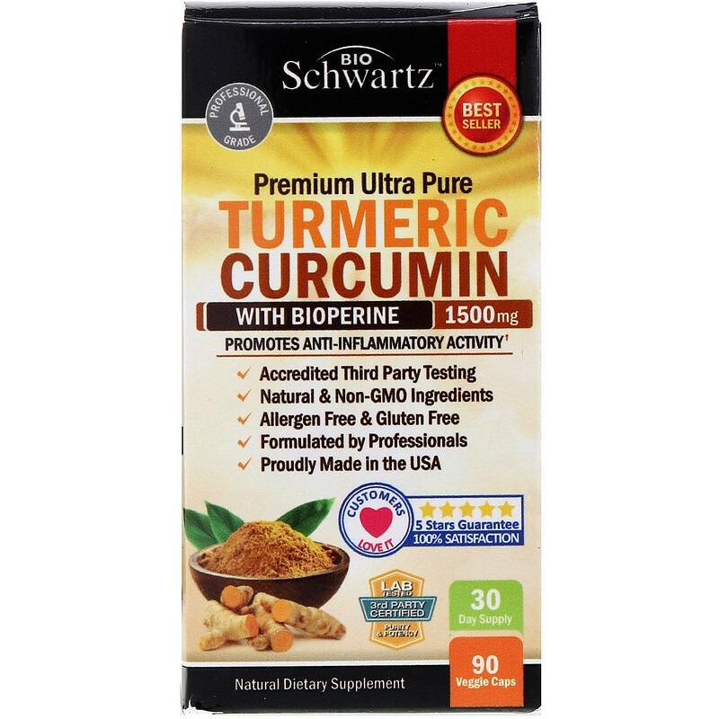 BioSchwartz, Premium Ultra Pure Turmeric Curcumin with Bioperine, 1,500 mg, 90 Veggie Caps