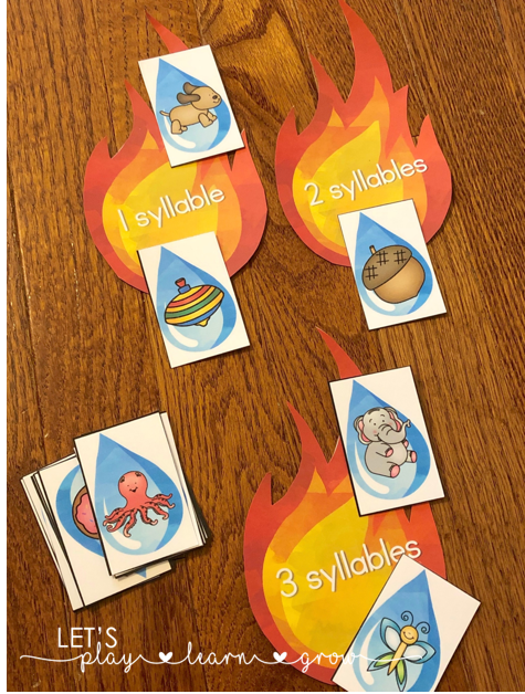 Fire Safety Syllable sorting up to three syllables