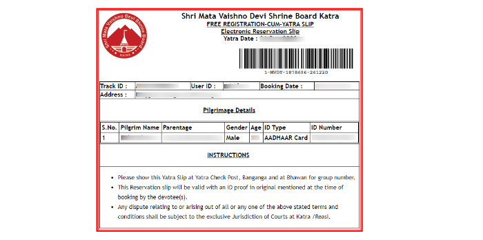 Vaishno Devi Yatra Parchi Online Booking