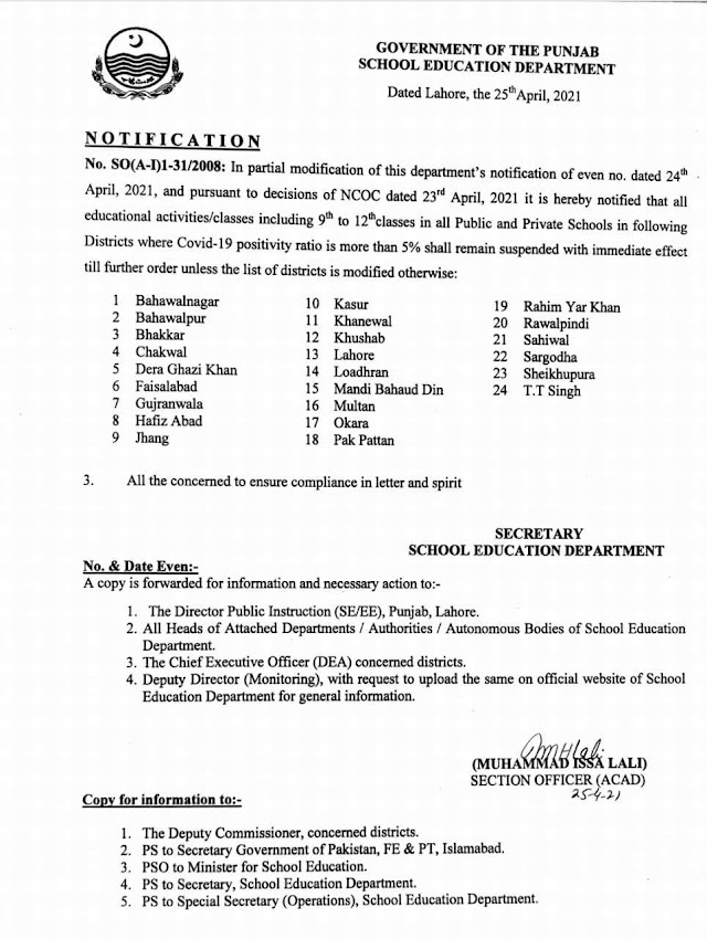 CLOSURE OF EDUCATIONAL INSTITUTIONS / SUSPENSION OF ALL EDUCATIONAL ACTIVITIES IN ALL PUBLIC AND PRIVATE SCHOOLS OF 24 DISTRICTS OF PUNJAB