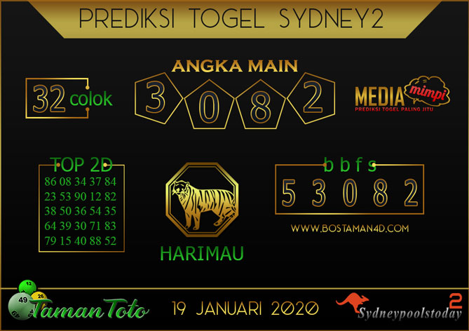 Prediksi Togel SYDNEY 2 TAMAN TOTO 19 JANUARI 2020