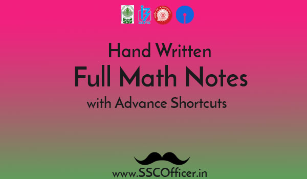 Hand Written Advance Math Notes for SSC CGL & CHSL in PDF