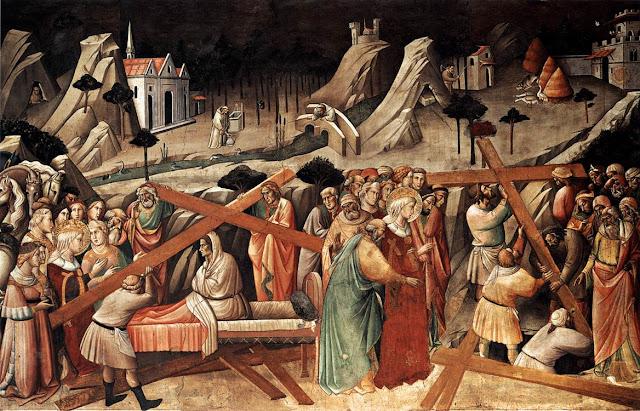 Η εύρεση του Τιμίου Σταυρού από την Αγία Ελένη, τοιχογραφία, 1385, Agnolo GADDI, Φλωρεντία. http://leipsanothiki.blogspot.be/