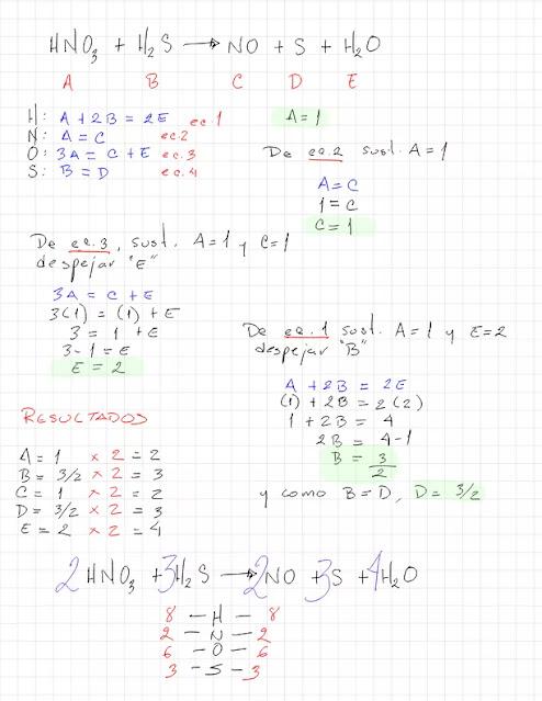 HNO3 + H2S →  NO + S + H2O