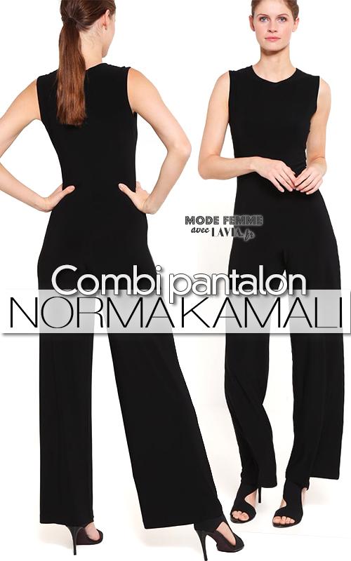 Combinaison pantalon femme noire NORMA KAMALI