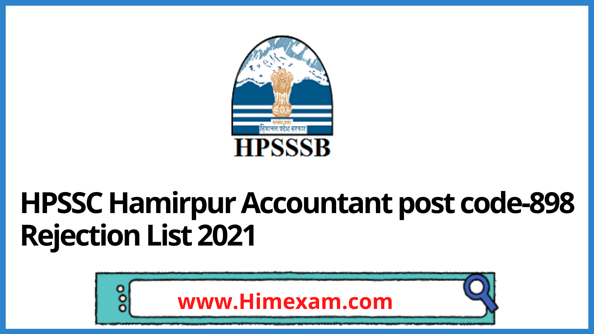 HPSSC Hamirpur Accountant post code-898 Rejection List 2021