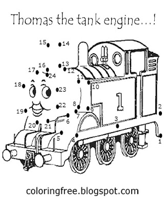Free stuff too do for kids connect up the dots Thomas the tank engine coloring pages to print put