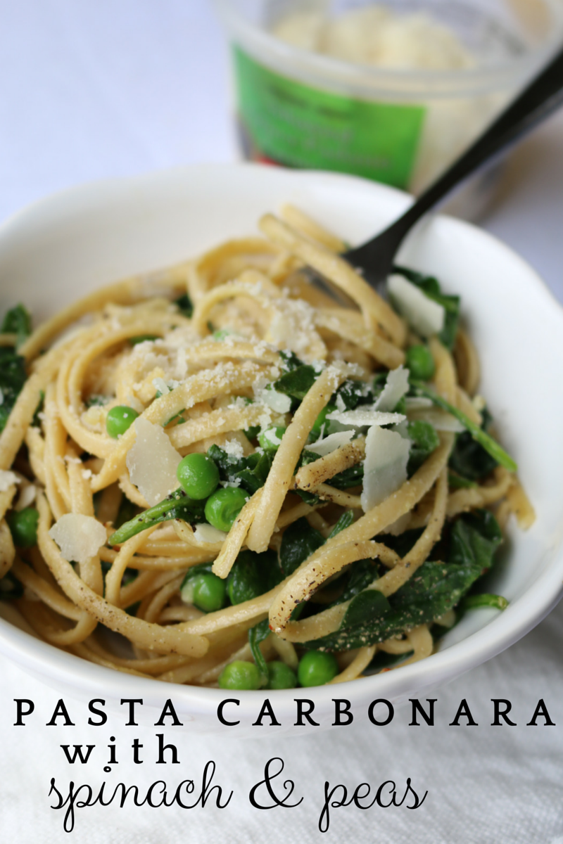 Pasta Carbonara with Spinach and Peas: This pasta dish can be made in an easy 30 minutes (or less) for a simple, yet elegant dinner at home. You can toss in extra veggies if you like and even add some grilled chicken or shrimp.