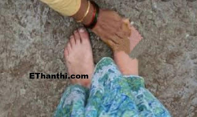 மனைவி காலை பிடித்து மன்னிப்பு கேட்ட கணவன் !