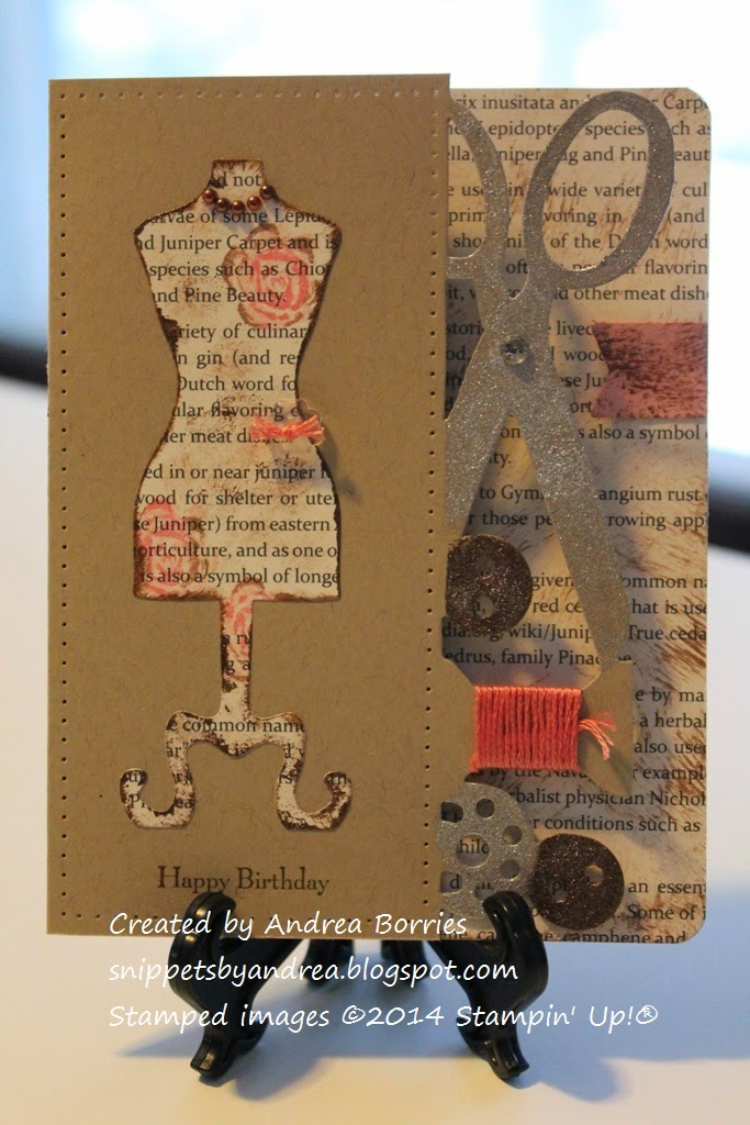 Shabby chic-style card. Sewing accessories die cut from right side of card, dress form die cut and stamped on the left side.