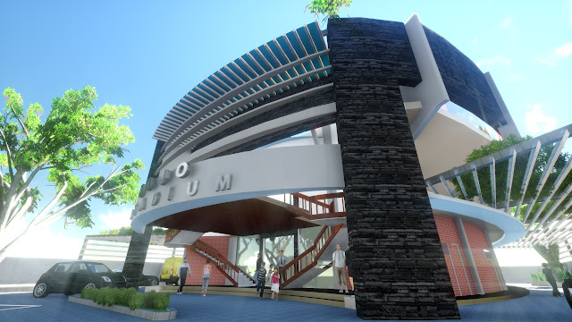 desain gedung olahraga gor minimalis modern dan mewah
