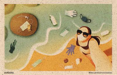 tarjeta, prefranqueada, residuos, covid, playa, Doñana