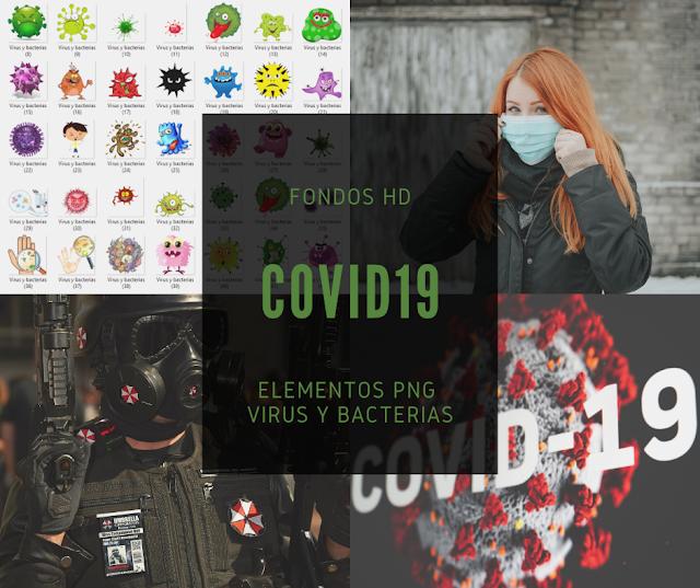 Fondos HD y elementos PNG Virus y bacterias para diseño gráfico Covid-19